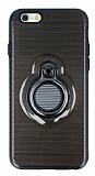 Eiroo Ring Flug iPhone 6 Plus / 6S Plus Selfie Yüzüklü Siyah Rubber Kılıf