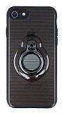 Eiroo Ring Flug iPhone 7 / 8 Selfie Yüzüklü Siyah Rubber Kılıf