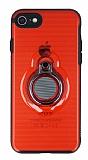 Eiroo Ring Flug iPhone 7 / 8 Selfie Yüzüklü Kırmızı Rubber Kılıf
