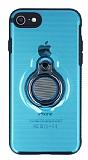 Eiroo Ring Flug iPhone 7 / 8 Selfie Yüzüklü Mavi Rubber Kılıf