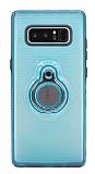 Eiroo Ring Flug Samsung Galaxy Note 8 Selfie Yüzüklü Mavi Rubber Kılıf