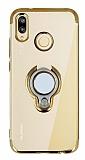 Eiroo Ring Laser Huawei P20 Lite Selfie Yüzüklü Gold Silikon Kılıf