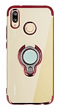 Eiroo Ring Laser Huawei P20 Lite Selfie Yüzüklü Kırmızı Silikon Kılıf