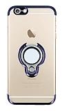 Eiroo Ring Laser iPhone 6 / 6S Selfie Yüzüklü Siyah Silikon Kılıf
