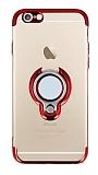 Eiroo Ring Laser iPhone 6 / 6S Selfie Yüzüklü Kırmızı Silikon Kılıf
