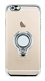 Eiroo Ring Laser iPhone 6 / 6S Selfie Yüzüklü Silver Silikon Kılıf