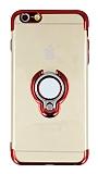 Eiroo Ring Laser iPhone 6 Plus / 6S Plus Selfie Yüzüklü Kırmızı Silikon Kılıf