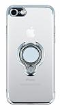 Eiroo Ring Laser iPhone SE 2020 Selfie Yüzüklü Silver Silikon Kılıf