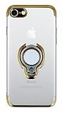 Eiroo Ring Laser iPhone SE 2020 Selfie Yüzüklü Gold Silikon Kılıf