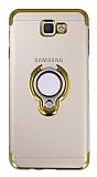 Eiroo Ring Laser Samsung Galaxy J7 Prime / J7 Prime 2 Selfie Yüzüklü Gold Silikon Kılıf