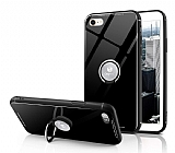 Eiroo Ring Up iPhone 6 / 6S Selfie Yüzüklü Siyah Cam Kılıf