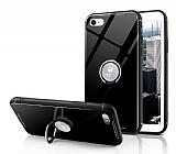 Eiroo Ring Up iPhone 7 / 8 Selfie Yüzüklü Siyah Cam Kılıf