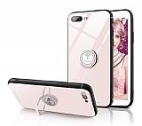 Eiroo Ring Up iPhone 7 Plus / 8 Plus Selfie Yüzüklü Krem Cam Kılıf
