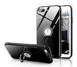 Eiroo Ring Up iPhone 7 Plus / 8 Plus Selfie Yüzüklü Siyah Cam Kılıf