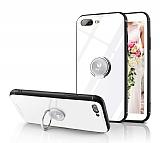 Eiroo Ring Up iPhone 7 Plus / 8 Plus Selfie Yüzüklü Beyaz Cam Kılıf