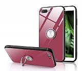 Eiroo Ring Up iPhone 7 Plus / 8 Plus Selfie Yüzüklü Pembe Cam Kılıf
