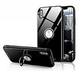 Eiroo Ring Up iPhone X / XS Selfie Yüzüklü Siyah Cam Kılıf