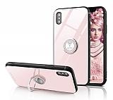Eiroo Ring Up iPhone XS Max Selfie Yüzüklü Krem Silikon Kılıf
