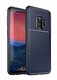 Eiroo Rugged Carbon Samsung Galaxy S9 Lacivert Silikon Kılıf