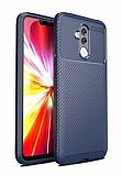 Eiroo Rugged Carbon Huawei Mate 20 Lite Lacivert Silikon Kılıf