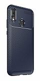 Eiroo Rugged Carbon Huawei P20 Lite Lacivert Silikon Kılıf