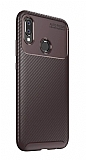 Eiroo Rugged Carbon Huawei P20 Lite Kahverengi Silikon Kılıf