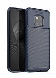Eiroo Rugged Carbon Huawei Mate 20 Pro Lacivert Silikon Kılıf