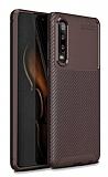 Eiroo Rugged Carbon Huawei P30 Kahverengi Silikon Kılıf