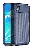 Eiroo Rugged Carbon Huawei Y5 2019 Lacivert Silikon Kılıf