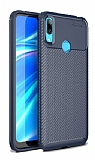 Eiroo Rugged Carbon Huawei Y7 Prime 2019 Lacivert Silikon Kılıf