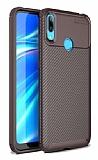 Eiroo Rugged Carbon Huawei Y7 Prime 2019 Kahverengi Silikon Kılıf