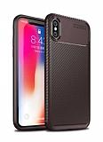 Eiroo Rugged Carbon iPhone X / XS Kahverengi Silikon Kılıf