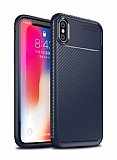 Eiroo Rugged Carbon iPhone XS Max Lacivert Silikon Kılıf