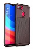 Eiroo Rugged Carbon Oppo AX7 / Oppo A5s Kahverengi Silikon Kılıf