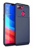 Eiroo Rugged Carbon Oppo AX7 / Oppo A5s Lacivert Silikon Kılıf