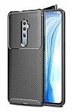 Eiroo Rugged Carbon Oppo Reno 10x zoom Siyah Silikon Kılıf