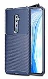 Eiroo Rugged Carbon Oppo Reno 10x zoom Lacivert Silikon Kılıf
