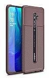 Eiroo Rugged Carbon Oppo Reno2 Kahverengi Silikon Kılıf