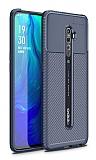 Eiroo Rugged Carbon Oppo Reno2 Z Lacivert Silikon Kılıf