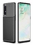 Eiroo Rugged Carbon Oppo Reno3 Pro Siyah Silikon Kılıf