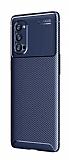 Eiroo Rugged Carbon Oppo Reno4 Pro Lacivert Silikon Kılıf