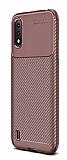 Eiroo Rugged Carbon Samsung Galaxy A01 Kahverengi Silikon Kılıf