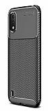 Eiroo Rugged Carbon Samsung Galaxy A01 Siyah Silikon Kılıf