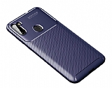 Eiroo Rugged Carbon Samsung Galaxy A11 Lacivert Silikon Kılıf