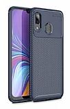 Eiroo Rugged Carbon Samsung Galaxy A20 / A30 Lacivert Silikon Kılıf