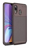Eiroo Rugged Carbon Samsung Galaxy A20 / A30 Kahverengi Silikon Kılıf