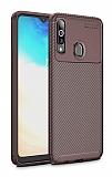 Eiroo Rugged Carbon Samsung Galaxy A20S Kahverengi Silikon Kılıf