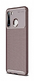 Eiroo Rugged Carbon Samsung Galaxy A21 Kahverengi Silikon Kılıf