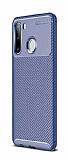 Eiroo Rugged Carbon Samsung Galaxy A21 Lacivert Silikon Kılıf