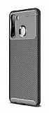 Eiroo Rugged Carbon Samsung Galaxy A21 Siyah Silikon Kılıf